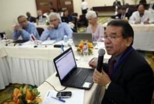 El viceministro de Cultura de Guatemala, Leandro Yax, durante la jornada inaugural de la 32 reunión ordinaria del Consejo de Ministros de Educación y del Consejo de Ministros y Directores de Cultura del Sistema de la Integración Centroamericana.
