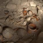 Vista de la tumba de un gobernante en el momento de su descubrimiento en el interior del Edificio A de Holmul. Se observan las 28 vasijas decoradas que acompañaban el cuerpo del difunto. Una concha Spondylus perforada y dos piedras cubren el cráneo y torso. (Jesus Lopez)