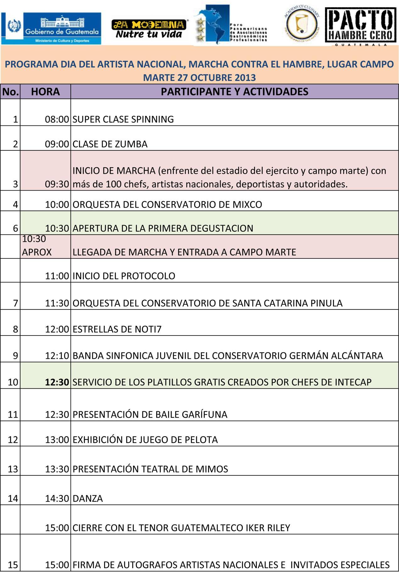 Programa DOMINGO 27 actividades 1