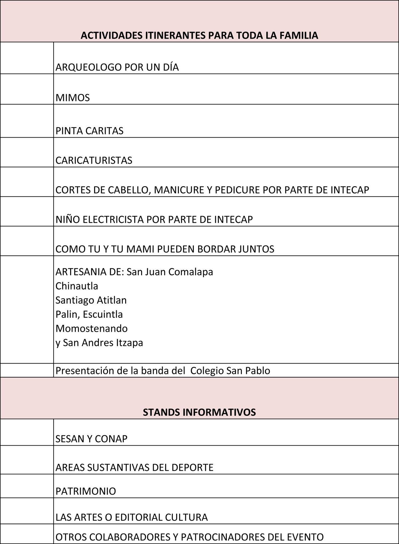 Programa DOMINGO 27 actividades 2