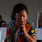 Cristina España, maestra de teatro, durante su presentación.