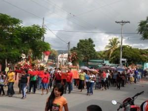 Festejos para celebrar a la Virgen del Rosario en Sanarate, El Progreso.