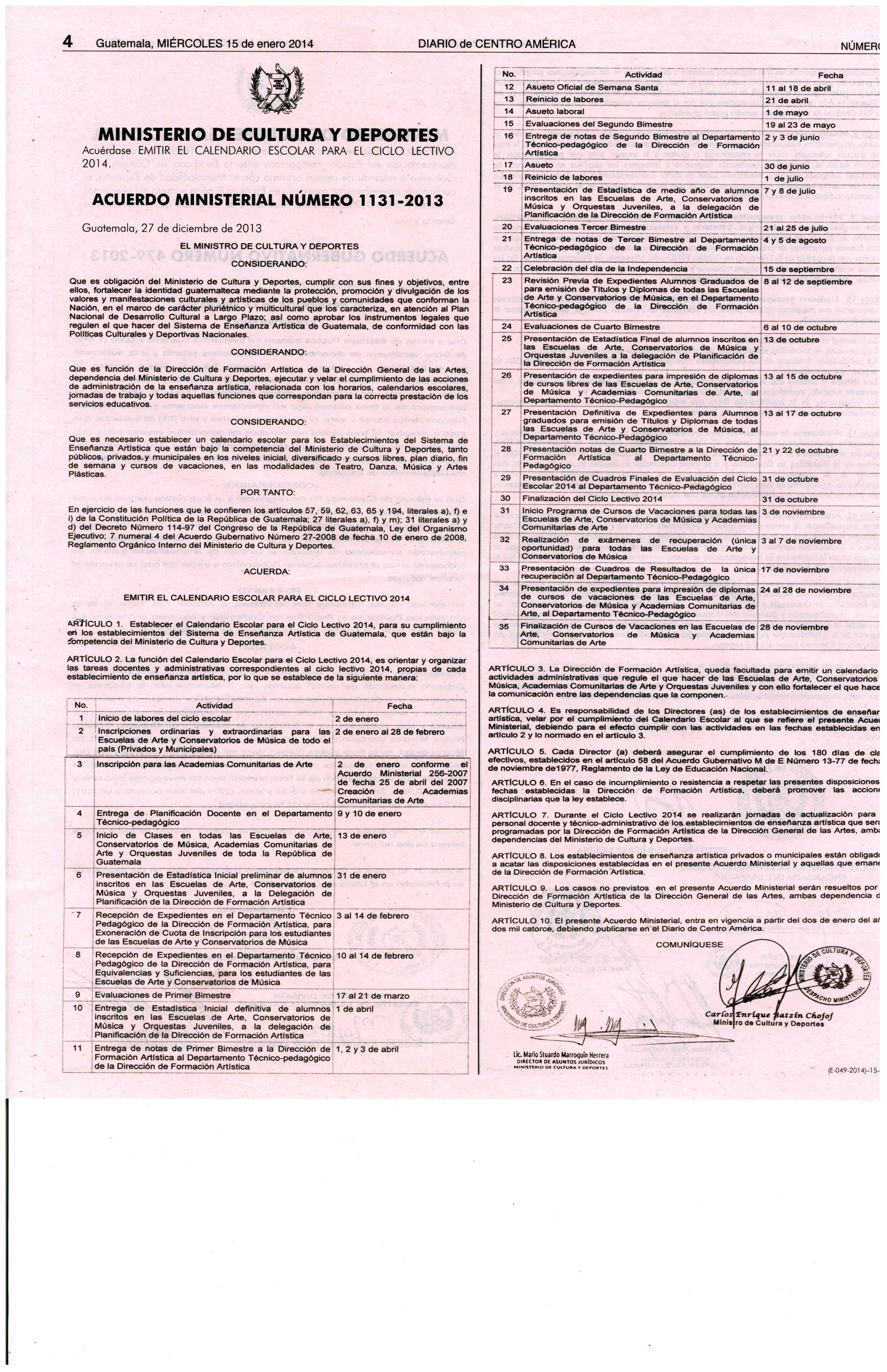 15-01-14-DIARIO DE CENTRO AMÉRICA-ACUERDO MINISTERIAL-MINISTERIO DE CULTURA Y DEPORTES-PÁGINA 04