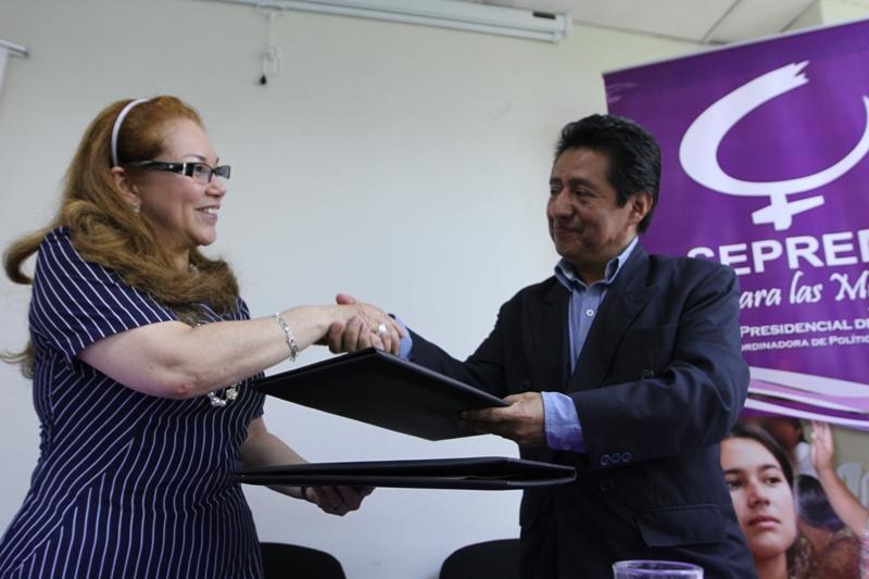 Las dos instituciones se comprometieron a través de este convenio, a fortalecer la equidad de género.