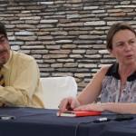 Oscar Mora, Director General del Patrimonio Cultural y Natural junto a Delphine Mercier, Directora del CEMCA.