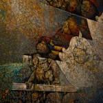 """Obra de Efraín Recinos """"Intersección de Dos Retratos""""."""