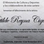 Lamentamos el deceso de la Señora Matilde Reyna Cigüenza
