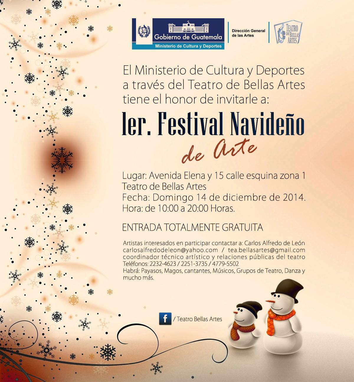 Invitación temporada navideña Bellas Artes 2014