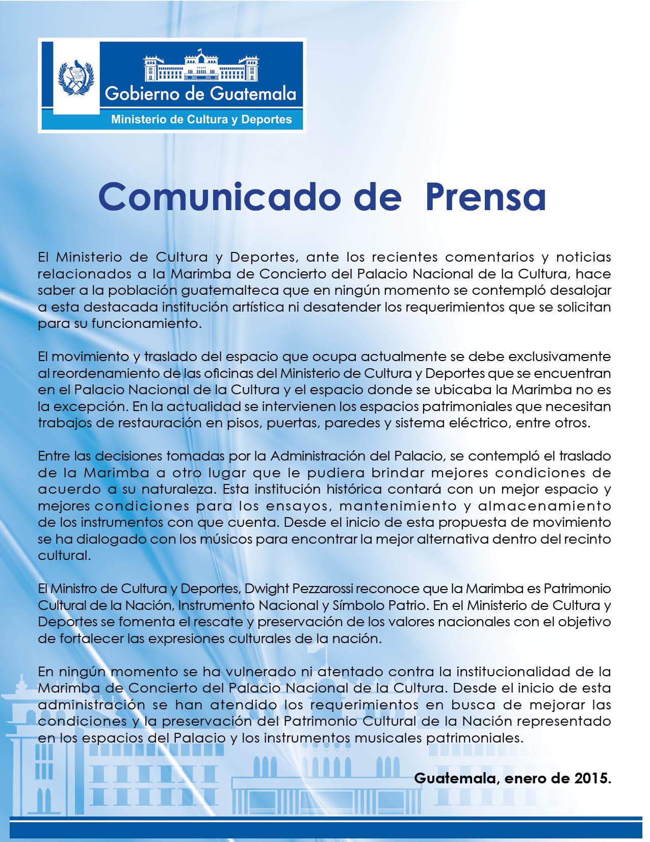 Comunicado de Prensa Marimba