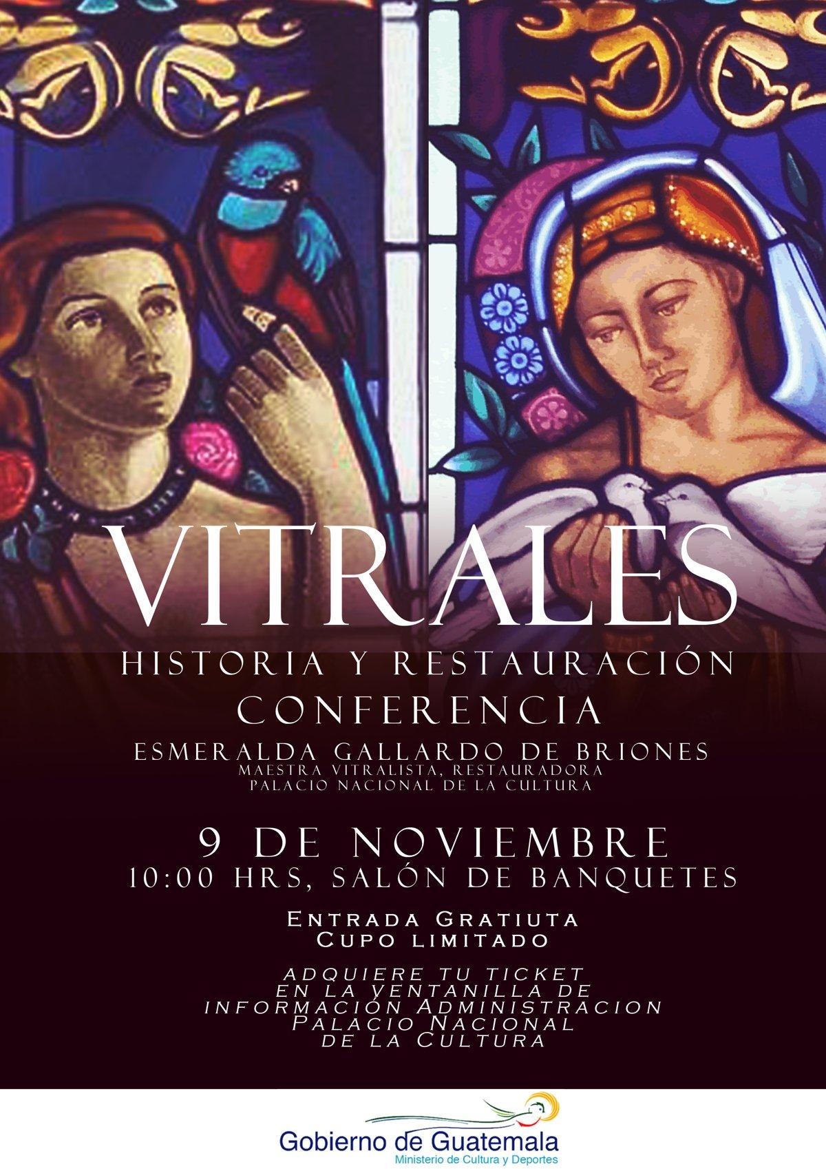 afiche conferencia historia de los vitrales Palacio Nacional