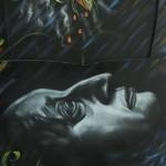 """Exposición de pinturas, """"Vida y obra de Miguel Ángel Asturias"""" a cargo de los alumnos de la Escuela Nacional de Artes Plásticas."""