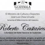 Ministerio de Cultura  y Deportes lamenta la partida de Roberto Castañeda