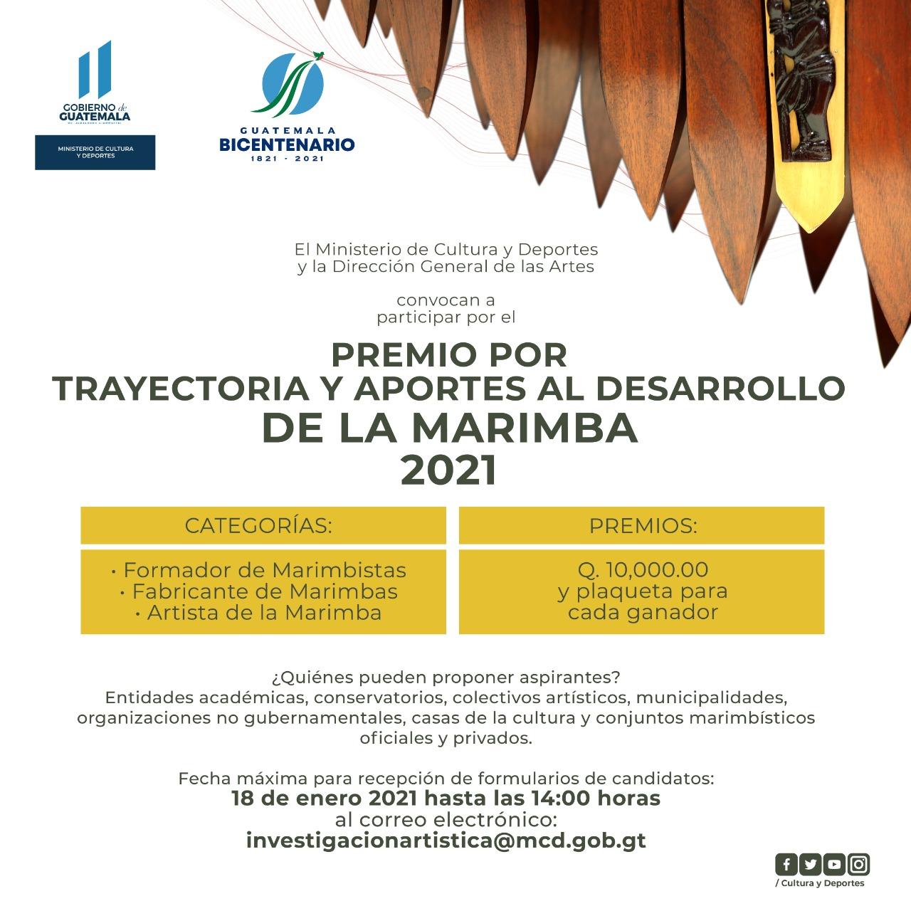 Convocatoria al «Premio por Trayectoria y Aportes al Desarrollo de la Marimba 2021»